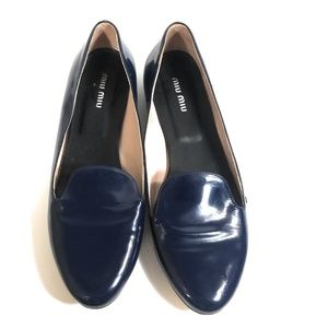 Miu Miu Women Smoking Flats Blue Loafers Size 38